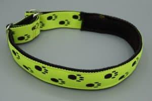 Hundehalsband mit Pfoten in Leuchtgelb