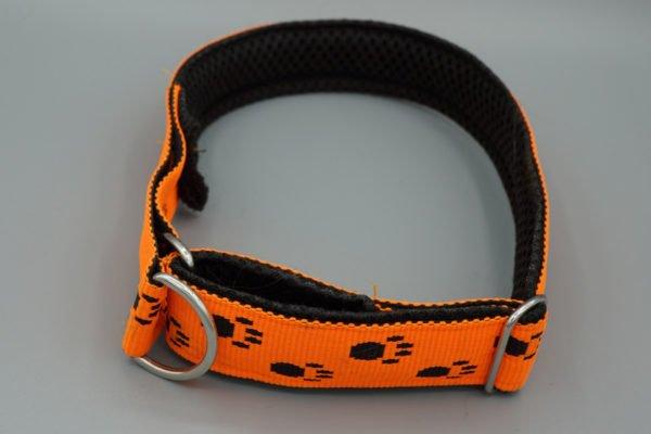Hundehalsband mit Pfoten in Leuchtorange