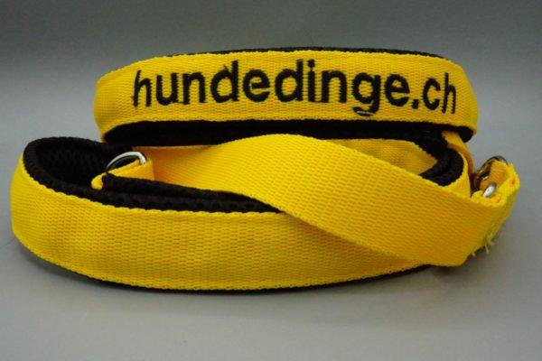 Hundeleine Gelb mit schwarzem Air Mesh