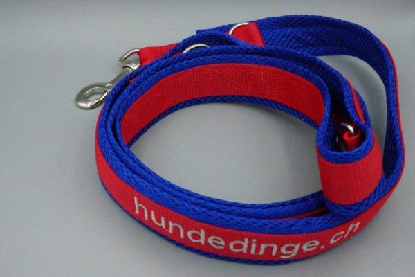 Hundeleine Rot mit blauem Air Mesh