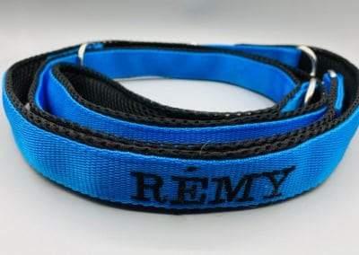 Bestickte Hundeleine blau-schwarz