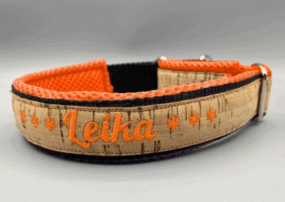 Korkhalsband Orange Mesh Schrift