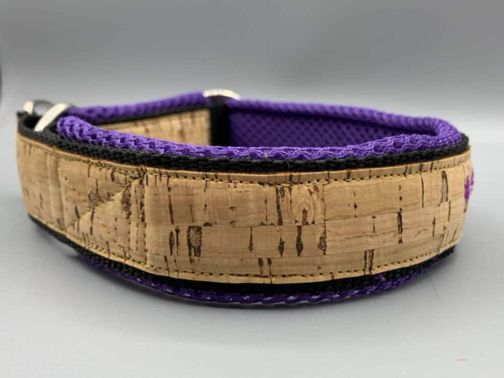 Korkhalsband violett Mesh Schrift 3