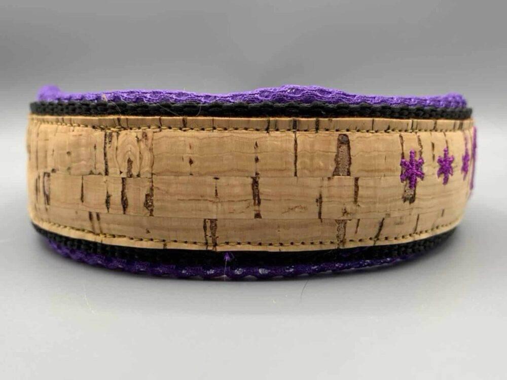 Korkhalsband violett Mesh Schrift 4
