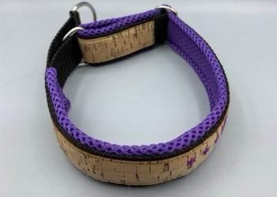 Korkhalsband violett Mesh Schrift 5
