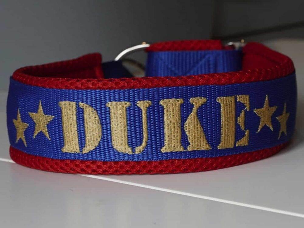 Hundehalsband Blau Rot von Duke