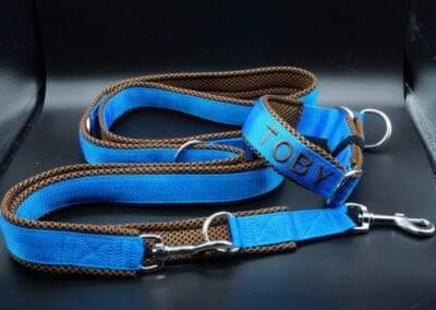 Leine Halsband Dunkelbraun Blau